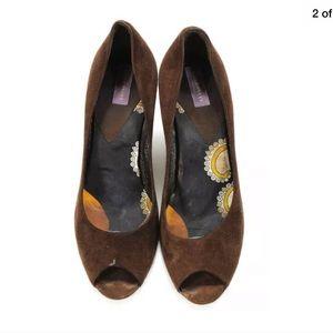 Emilio Pucci Shoes - EMILIO PUCCI SIZE 37.5 BROWN SUEDE PEEP TOE